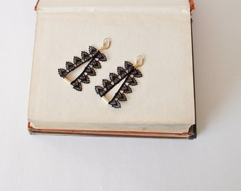 Black Lace Earrings, Gothic Earrings, Statement Earrings, Boho Brass Earrings, Black Dangle Earrings, Lace Jewelry, Women's Gift