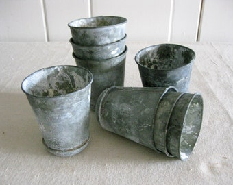 Small Zinc Pot, Zinc Flower Pot, Seed Pot, Reproduction Antique-Look Zinc Pot, Round Bottom Zinc Pot