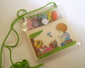Memory Pad and Bunny Erasers in Nylon Pouch 80s Kawaii Stationery, VC, Blossom, MTO