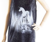 Unicorn Shirt (Unisex T-Shirt) Animal Tees Funny Tees Graphic Unicorn Tank Top HorseTank Top Tunic Vest Sleeveless Bleached Shirt Size M