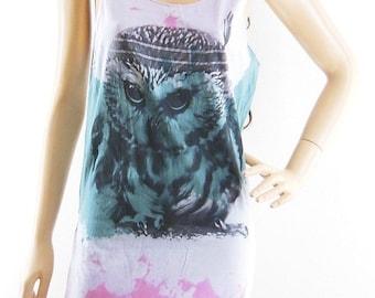 Owl Tank Top Owl Shirt Dyed Fabrics Women Shirt Women Clothing Tops Cute Tees Hipster tumblr shirt Owl T-Shirt Screen Print Size S