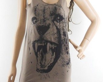 Tiger T-Shirt Art Animal Tank Top Tiger Shirt Tiger T-Shirt Brown T-Shirt Tunic Screen Print Size S