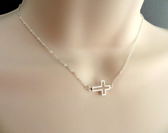 Sterling Silver Open Cross Pendant Necklace. 3D Cross Necklace. Sideways Cross Necklace. .925 Sterling Silver.