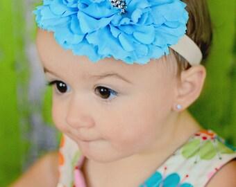 Aqua Blue Peony Flower with Sparkling center, Summer Headband, Aqua Wedding, Turquoise Wedding, Flower  Girl Headband
