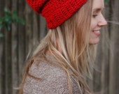 Slouchy Beanie - Crocheted - Red