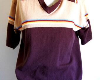Vintage 1970s Men's V-Neck Mervyn's Sweater w/ Collar