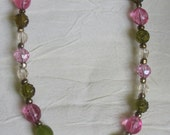Vintage Girl's pink/green floral necklace