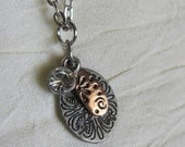 Copper and silver Charms with clear rhinestone pendant necklace