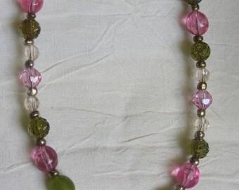 Vintage Girl's pink/green floral necklace