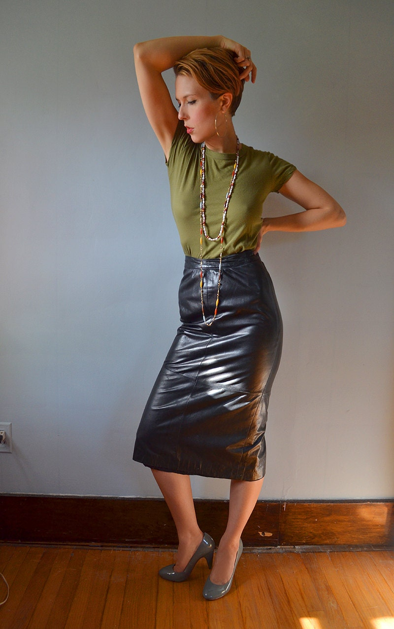 Black Leather High Waist Midi Pencil Skirt