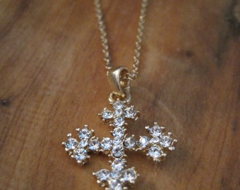 Gold Studded Cross Necklace - Rhinestone Cross Necklace