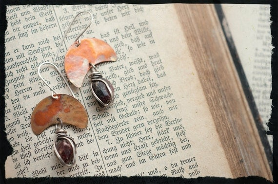 Wrapped gemstone earrings with flame coloured copper crescent moons