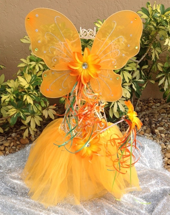 Fairy Princess Orange Butterfly wings with Orange Tutu and Flower Wand Party Favors