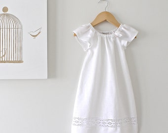 Baby Baptism Dress-Soft White Pure Linen and Lace Dress-Special Occasion-Christening Dress-Children Clothing by Chasing Mini