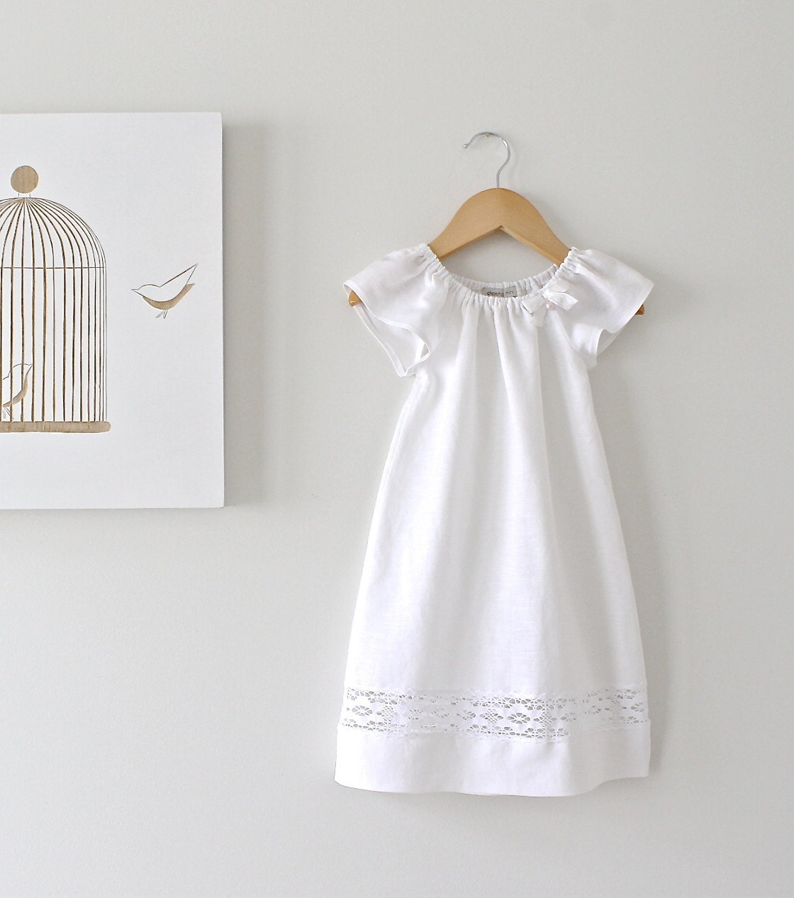 Baby Baptism Dress-Soft White Pure Linen and Lace