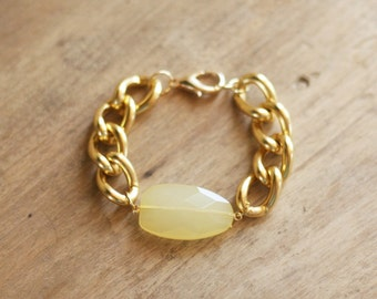 Chunky Gold Chain Bracelet with Lemon Yellow Charm, Lightweight Bracelet