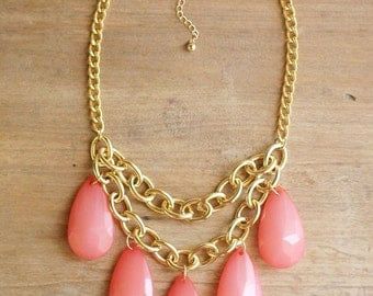 SALE! Coral Pink Teardrop Statement Necklace on Chunky Gold Chain, Coral Bib Necklace