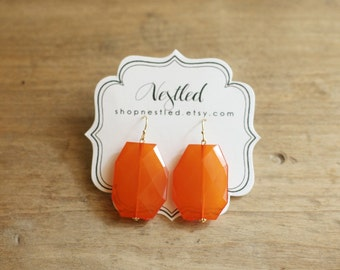 Burnt Orange Statement Earrings, Orange Drop Earrings, Orange Beaded Earrings