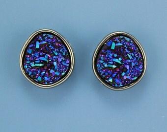 Handmade Blue Drusy Quartz Magnetic Clip Non Pierced Earrings