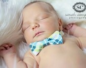 Boys Bow Tie- Blue, White, and Lime Green Diagonal Plaid - Sizes newborn-adult