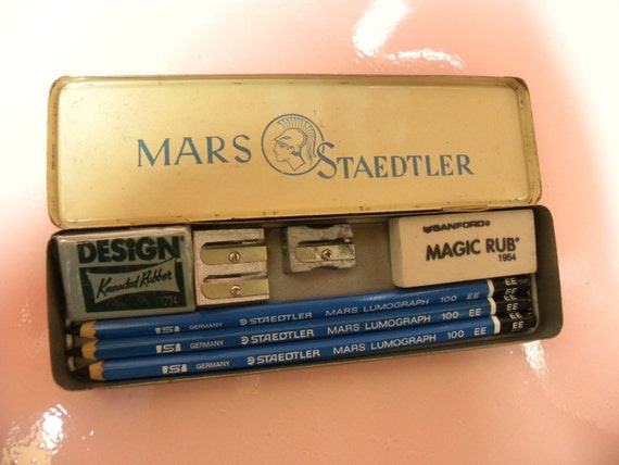 Vintage Mars Staedtler Pencil Tin With 3 Pencils By Goodsbayou