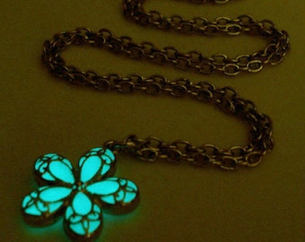 White Flower Necklace, Glow In The Dark Necklace Pendant, Gift For Her, Silver (glows aqua blue)