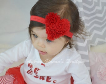 Red Heart Headband, Valentines Day Baby headband, newborn headband, infant headband, baby hair bow, first Valentines day