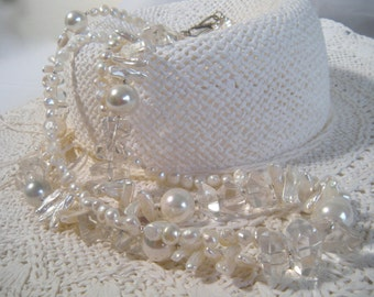 Beaded Multi Strand Chunky Necklace, White Freshwater Cultured Pearls, Quartz Crystal, .925 Sterling Silver