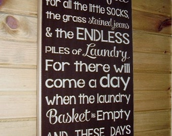 Wood Sign, Today I Will Be Thankful For All The Little Socks, Laundry, Laundry Room, Kids, Subway, Word Art, Handmade