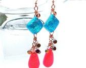 Metallic blue and hot pink glitter earrings - long drop magenta and metallic blue earrings - sparkly earrings by Sparkle City Jewelry