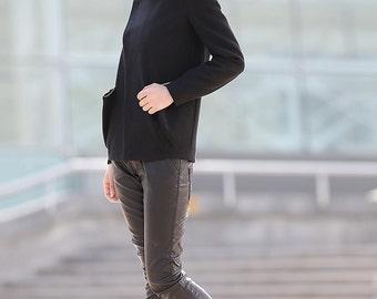 Wool coat, winter coat, coat, jacket, black coat, mini coat, asymmetrical coat, asymmetrical jacket, womens coat, wool coat women CF059