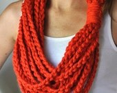 Orange Scarf Necklace . M...