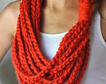 Orange Scarf Necklace .. Orange Infinity Scarf .. Orange Scarf .. Tangerine .. Cute Scarves .. Chunky Circle Scarf .. Crochet Chain Scarf