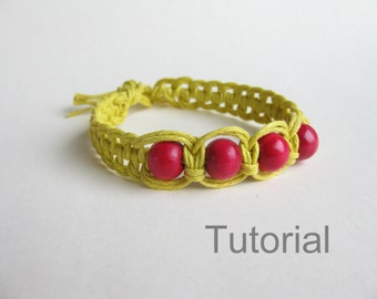 Step by step knotted bracelet tutorial macrame pattern yellow red beads Christmas gift how to knot makrame instructions instant download diy