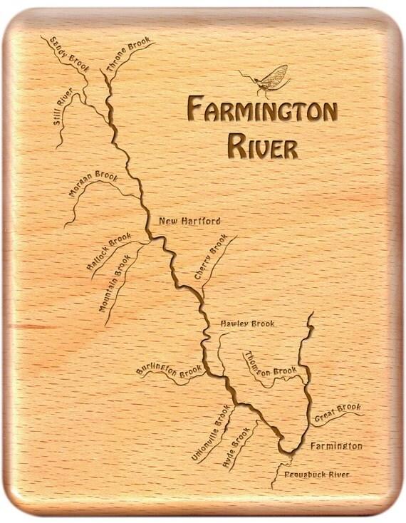 Farmington river map fly fishing fly box custom engraved and for Farmington river fishing