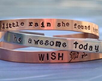 Copper Cuff Bangle Hand Stamped or Aluminium Cuff Bangle Bracelet Personalized Jewelry