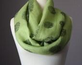 Green linen scarf, leaf green scarf, infinity scarf