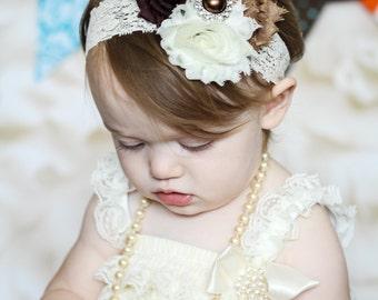 Fall Headband, Baby Headband, Infant Headband, Newborn Headband, Shabby Chic Headband - Ivory, Mocha, and Brown on lace