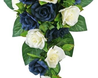 Navy Blue and Ivory Silk Rose Cascade - Silk Bridal Wedding Bouquet
