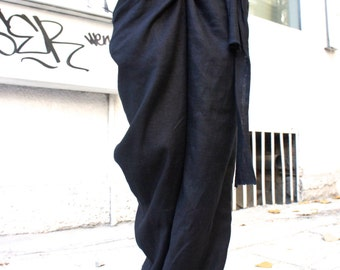 Loose Linen Black Pants / Wide Leg Pants Autumn Extravagant Collection A05034