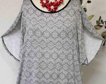 New Split Sleeves Plus Size Tunic with asymmetrical hem. 1XL, 2XL, 3XL