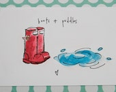 Boots & puddles - Illustrated flat note card