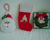 Vintage Christmas Felt and Needlepoint Ornaments Set of 3