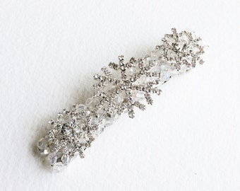 Winter hair accessories, Winter Wedding, christmas hair accessory Snowflake barrette hair clip hairclip Bridal Barrette beaded