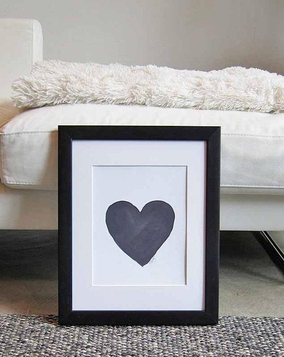 Inky Black Heart Art Print, 8x10 Watercolor