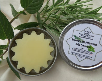 Rosemary and Peppermint Solid Lotion Bar, 1 oz Tin...For smooth skin, lovely aromatherapy, and bug repelling!.