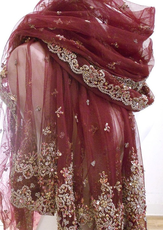 large embroidered maroon scarf chiffon scarf sheer scarf