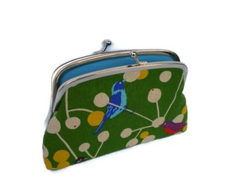 Green Echino bird coin purse, etsuko double frame wallet, with two compartments in turquoise
