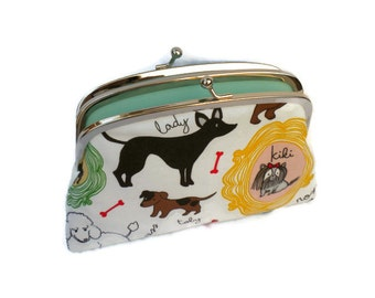 Kiss lock purse - dog frame wallet in white with 2 compartments in mint green, doggy animal lover