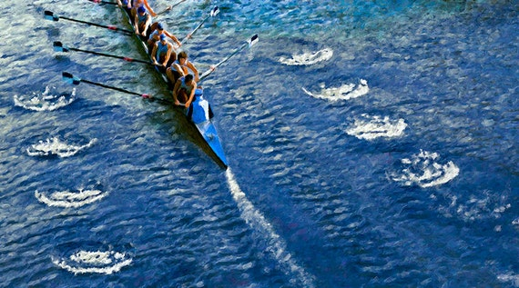 Rowing Crew Wake Canvas Print Fine Art Giclee Digital Painting